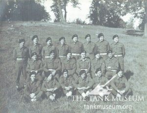 3rd troop, A Squadron, 1st Northamptonshire Yeomanry in Normandy during short rest. Joe Ekins 3rd left, front row.