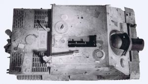 Top-down view of Sturmtiger, showing loading hatch open, crane and thick armoured mantlet.
