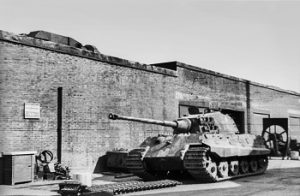 The Tank Museum's captured Tiger II of 1 Schw SS Pz Abt. Heavy SS Tank Battalion 101, at Fighting Vehicle Proving Establishment, Chertsey, January 1945.