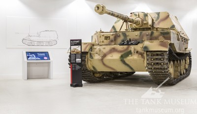 The Elefant, a veteran of the battle, at The Tank Museum.
