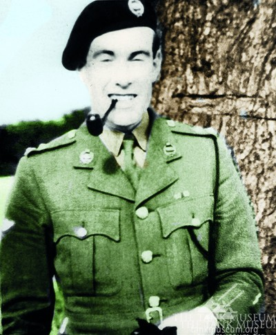 A colourised wartime shot of Lt. Peter Gudgin