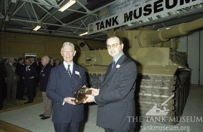 The ignition key is presented to General Sir Robert Hayman-Joyce