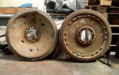 The outside and inside of the roadwheels.
