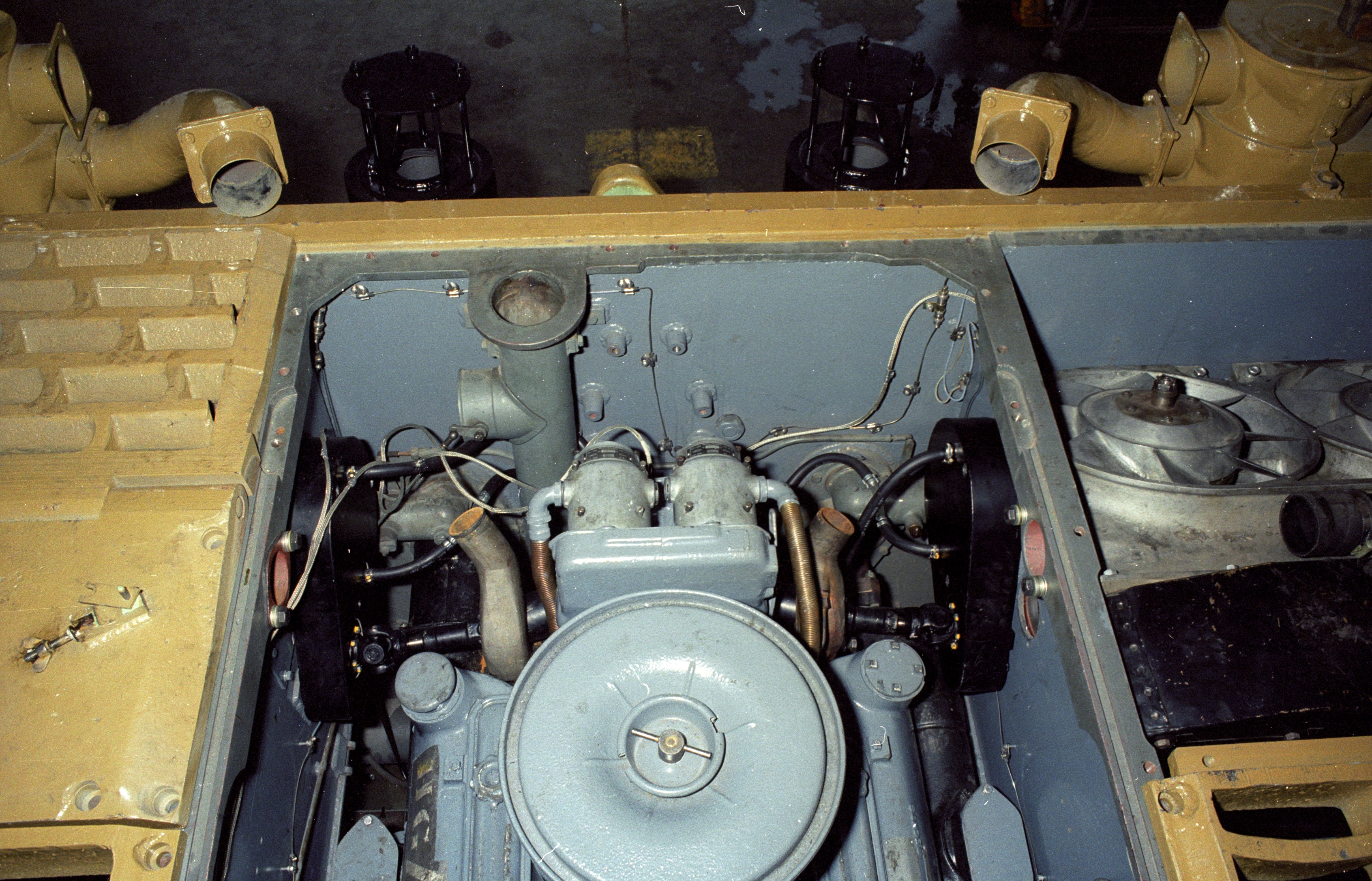 The stowage tube at the rear of the engine compartment